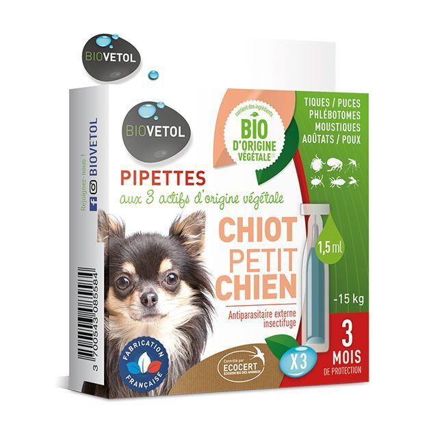 Pipettes insectifuges antiparasitaires * 3 - Chiot et Petit Chien