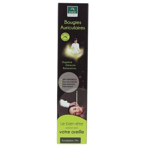 Bougies auriculaires pure cire d'abeille Eucalyptus - 2 unités