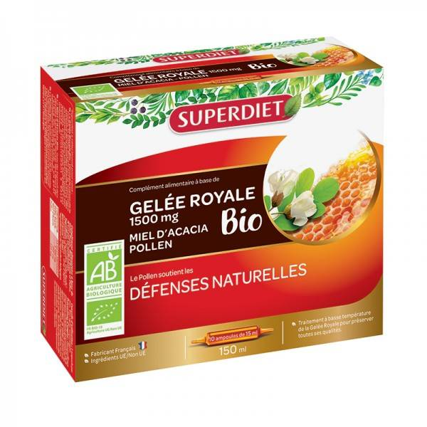 Gelée royale bio 1500 mg - 10 ampoules de 15 ml