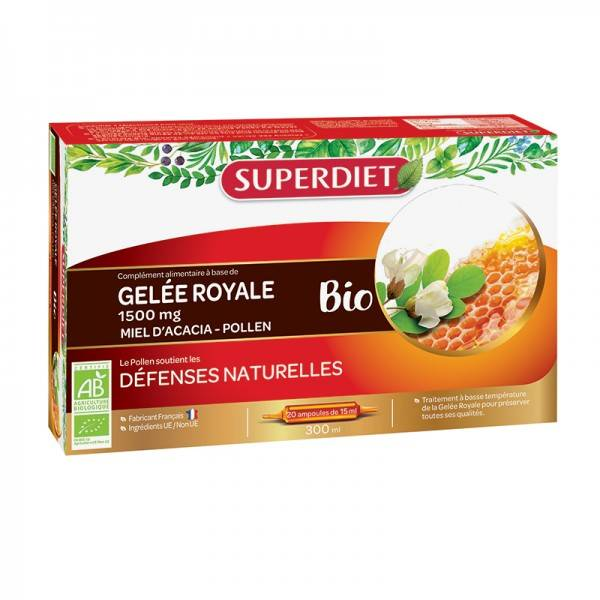 Gelée royale bio 1500 mg - 20 ampoules de 15 ml