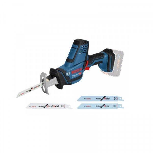 Bosch Scie sabre sans fil GSA 18V-Li C (sans batterie ni chargeur) + 4 lames de scie pour bois et métaux