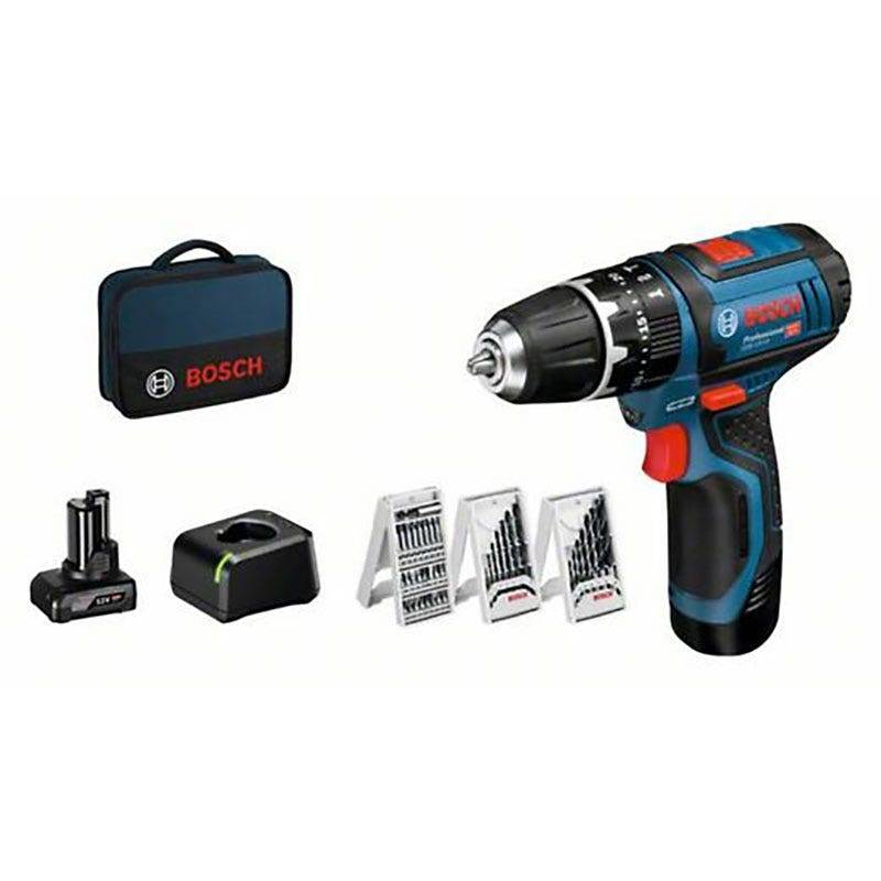 Bosch Kit 12V : perceuse-visseuse à percussion GSB 12V-15 + 1 batterie GBA 2Ah + 1 batterie GBA 4Ah + chargeur GAL 12V-20 + 39 accessoires + sacoche