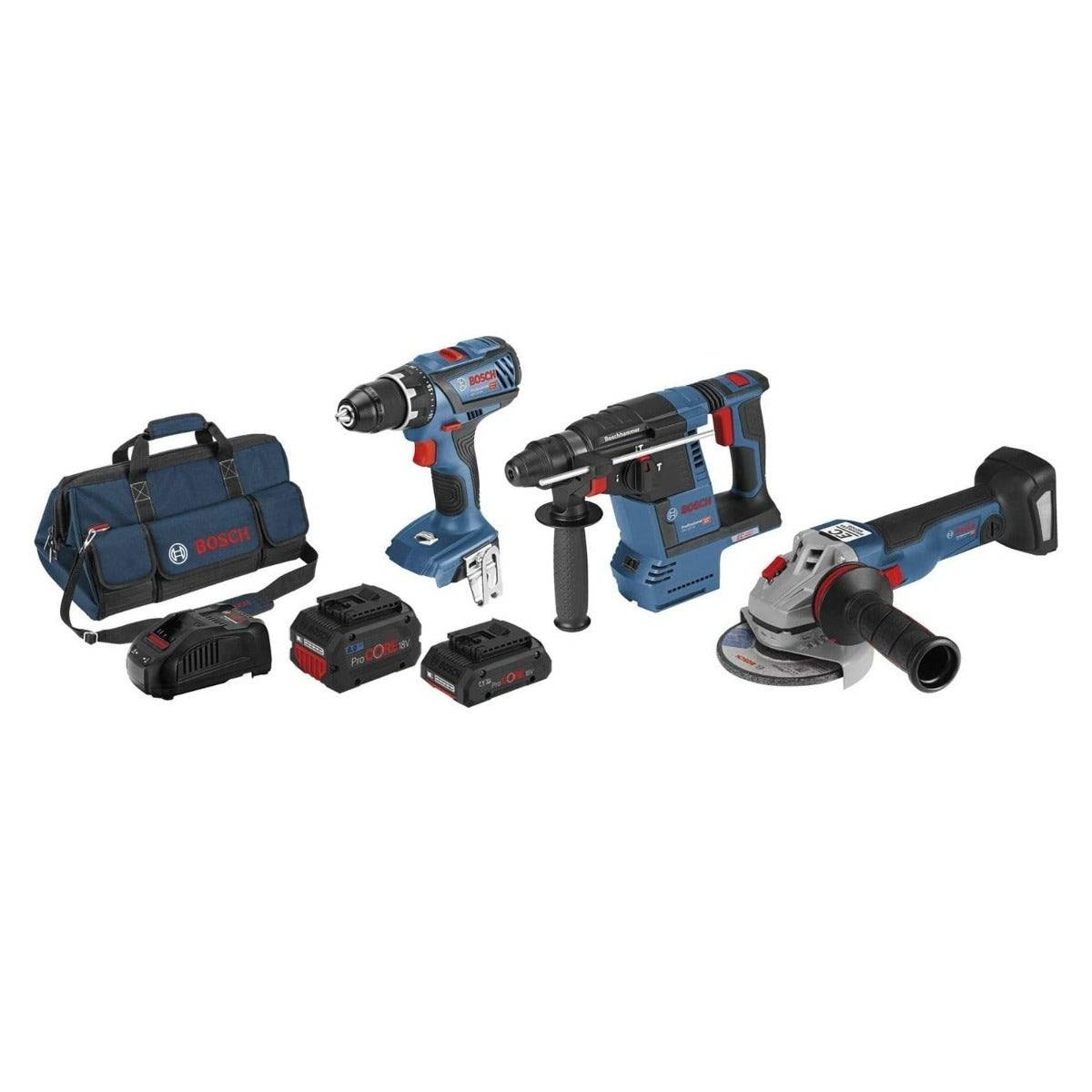 Bosch Kit 3 outils : Perceuse-visseuse GSR 18V-28 + Meuleuse angulaire GWS 18V-10 C + Perforateur GBH 18V-26 + chargeur rapide + 1 batterie 4Ah + 1 batterie 8Ah + sac à outils