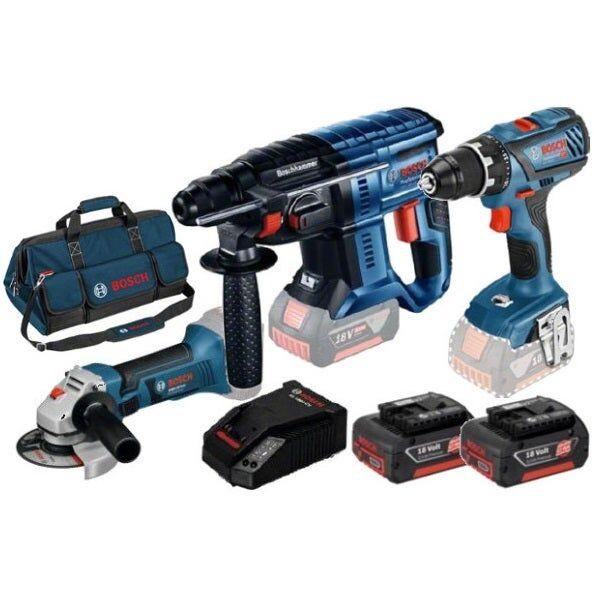 Bosch Kit 3 outils 18V : perceuse-visseuse GSR 18V-28 + marteau-perforateur GBH 18V-21 + meuleuse angulaire GWS 18V-10 + 2 batteries Li-Ion 18V 5Ah + chargeur GAL 1880Cv + sac à outils