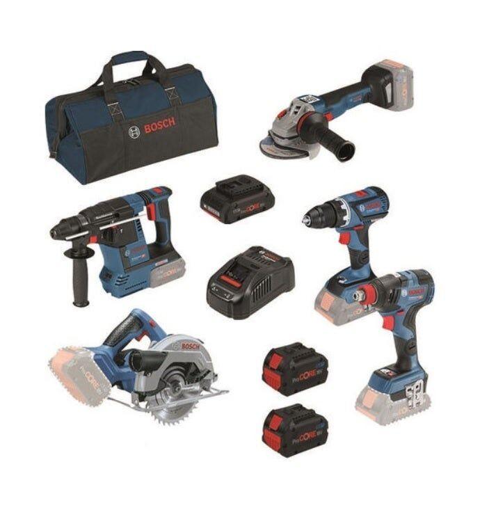 Bosch Kit 5 outils ProCore 18V : Perceuse-visseuse Brushless GSR 18V-60C + Perforateur Brushless GBH 18V-26 + Boulonneuse 2en1 Brushless GDX 18V-200C + Meuleuse GWS 18V-10C + Scie circulaire GKS 18V-57 + 2 batteries ProCore + sac à outils