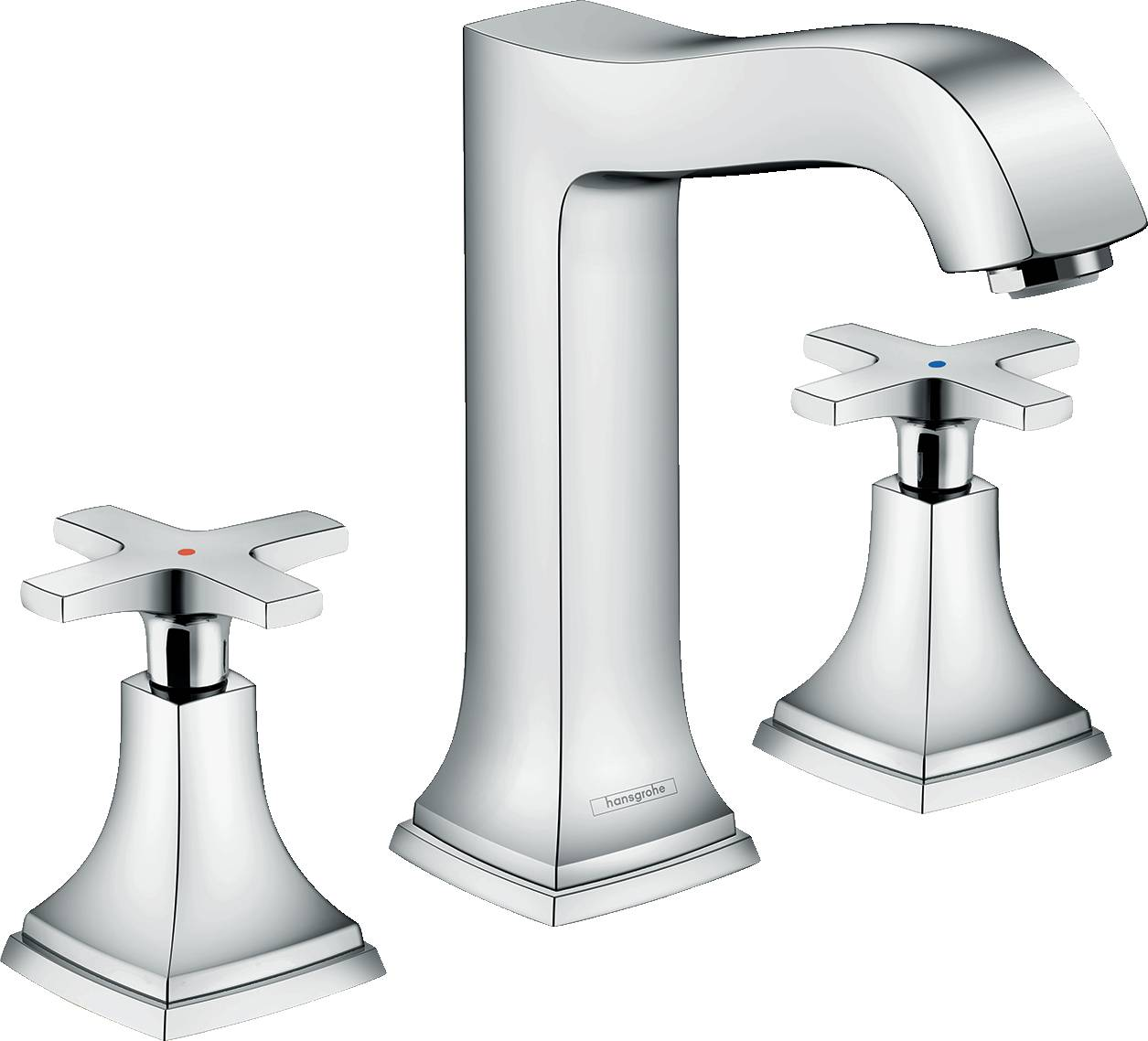 Hansgrohe Metropol Classic Mélangeur de lavabo 160, 3 trous poignées croisillons, avec tirette et vidage