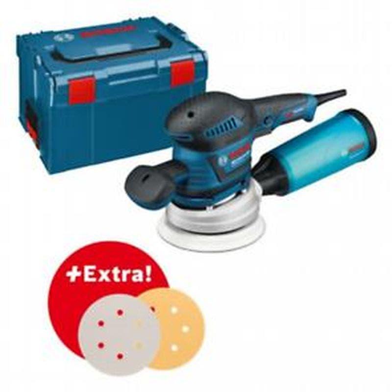 Bosch Set professionnel : ponceuse excentrique GEX 125-150 AVE + set de 50 disques abrasifs dans L-Boxx