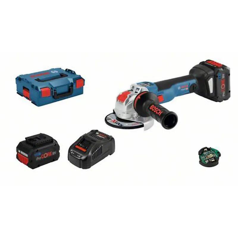 Bosch Meuleuse angulaire sans fil GWX 18V-10 SC + chargeur rapide + 2 batteries 8Ah + L-Boxx