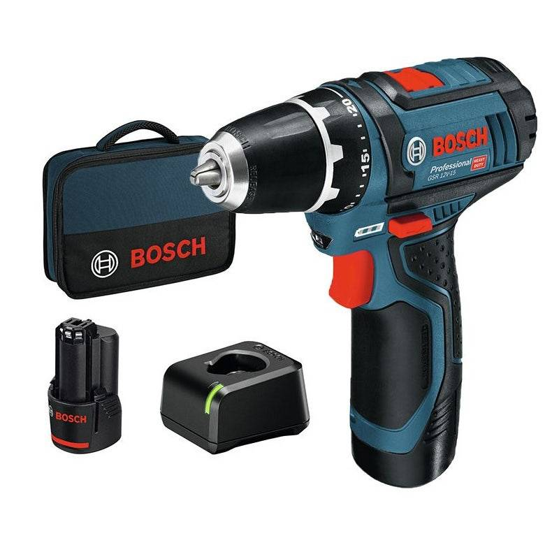 Bosch Perceuse-visseuse sans fil 12V Ø10mm GSR 12V-15 + 2 batteries 2Ah + chargeur + sac de transport
