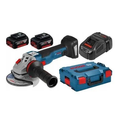 Bosch Meuleuse angulaire sans fil GWS 18V-10 C + chargeur rapide + 2 batteries 5Ah + accessoires + L-Boxx