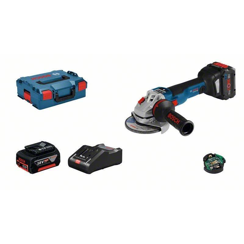 Bosch Meuleuse angulaire sans fil GWS 18V-10 SC + chargeur rapide + 2 batteries ProCore 8Ah + 1 module Bluetooth + accessoires + L-Boxx