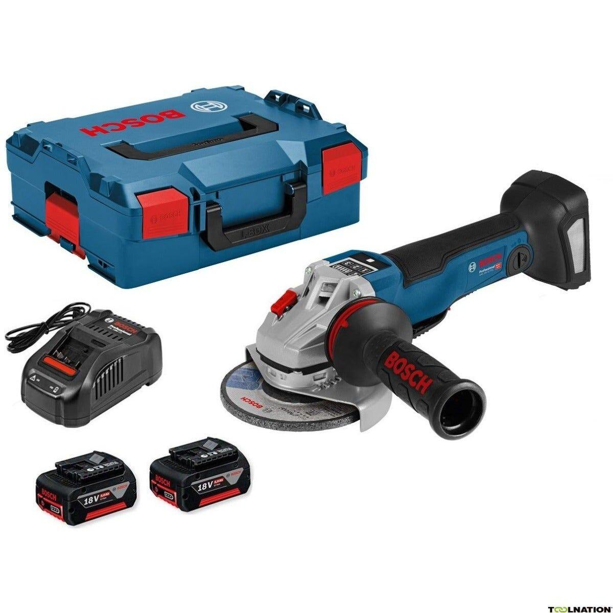 Bosch Meuleuse angulaire sans fil GWS 18V-10 PC + chargeur rapide + 2 batteries 5Ah + accessoires + L-Boxx