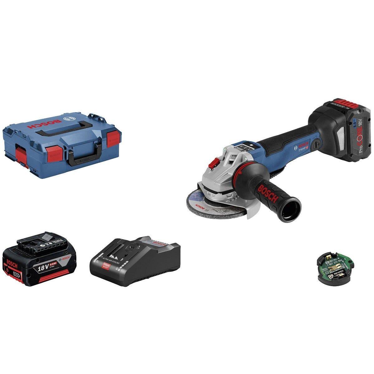 Bosch Meuleuse angulaire sans fil GWS 18V-10 PSC + chargeur rapide + 2 batteries ProCore 8Ah + 1 module Bluetooth + accessoires + L-Boxx