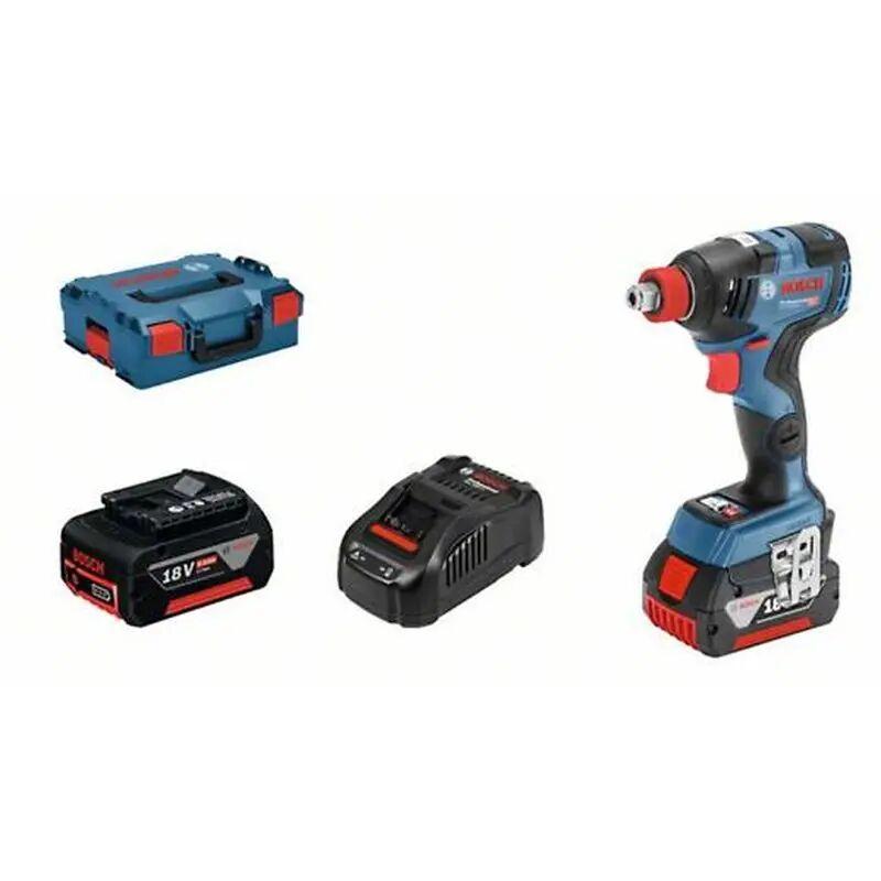 Bosch Visseuse à chocs sans fil GDX 18V-200 C + chargeur rapide + 2 batteries 5Ah + L-Boxx