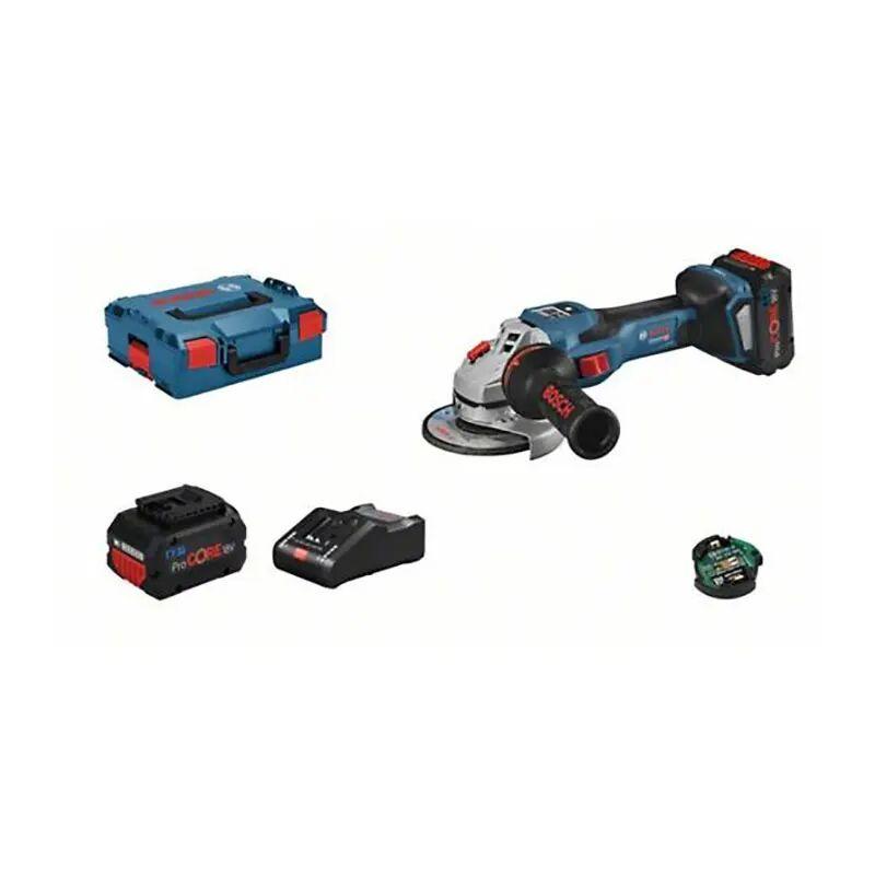 Bosch Meuleuse angulaire sans fil GWS 18V-15 SC + chargeur + 2 batteries 8Ah + 1 module Bluetooth + accessoires + L-Boxx