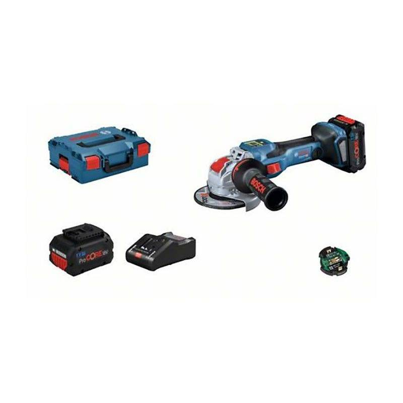 Bosch Meuleuse angulaire sans fil GWX 18V-15 SC + chargeur rapide + 2 batteries ProCore 8Ah + 1 module Bluetooth + accessoires + L-Boxx