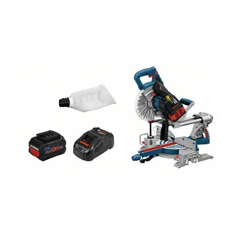Bosch Scie à onglets sans fil Biturbo GCM 18V-216 + 1 batterie 8Ah ProCore + chargeur GAL 1880 CV + 5 accessoires