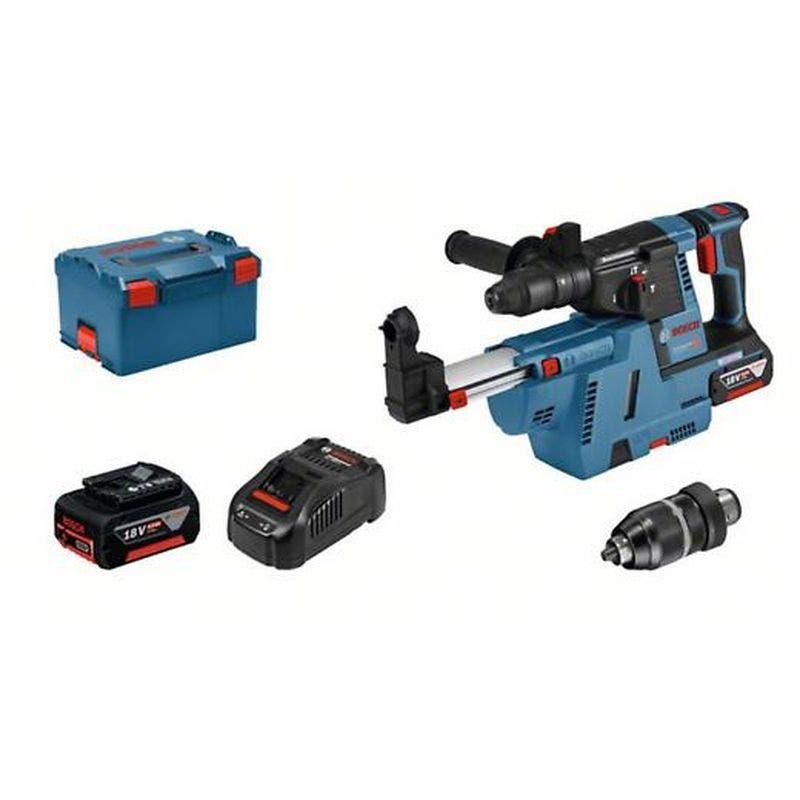 Bosch Perforateur sans-fil SDS plus GBH 18V-26 F + chargeur rapide + 2 batteries 6Ah + accessoires + L-Boxx