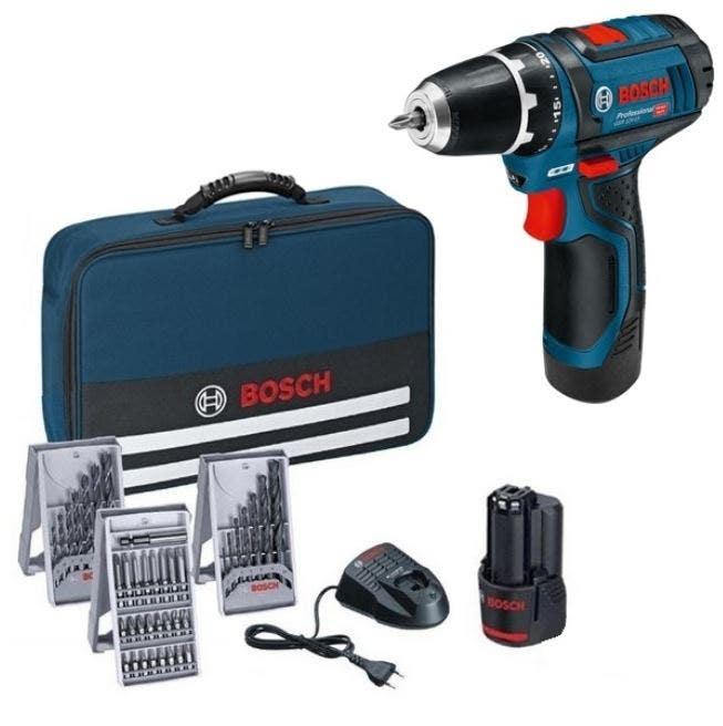 Bosch Perceuse-visseuse sans fil GSR 12V-15 + 2 batteries 2,0 Ah + set de 38 accessoires dans sac à outils