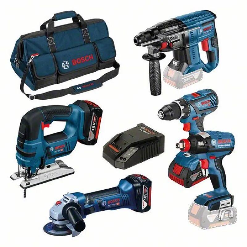 Bosch Set professionnel : GSR 18V-28 + GWS 18-125 V-Li + GBH 18V-20 + GST 18V-Lib + GDX 18 V-Ec + 3 x 4.0Ah 18V + AL 1860Cv + sac à outils
