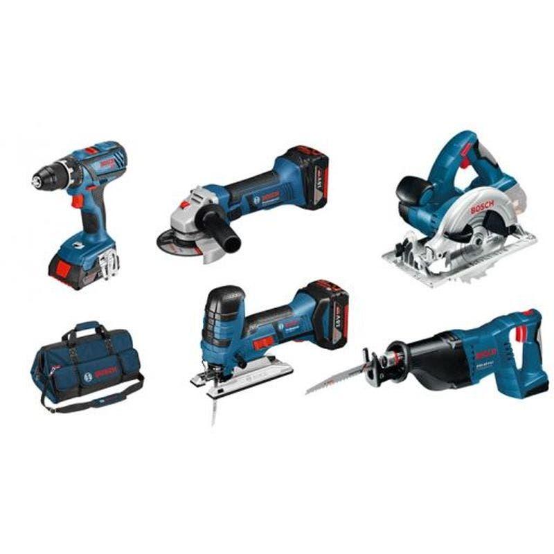 Bosch Kit de 5 outils : GSR 18V-28 + GWS 18-125 V-Li + GSA 18 V-Li + GKS 18V-Li + GST 18V-Lis + 3 batteries 18V 4.0Ah + GAL 1860Cv + sac à outils