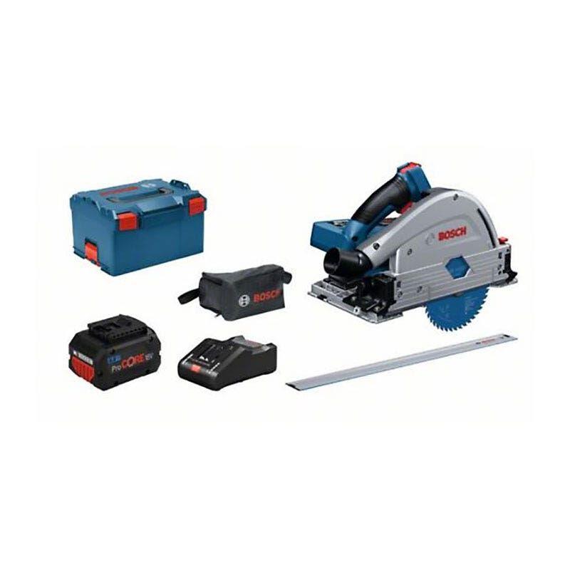 Bosch Scie plongeante sans fil Biturbo GKT 18V-52 GC + 2 batteries 8Ah ProCore + chargeur GAL 18V-160 C + 4 accessoires + coffret L-Boxx