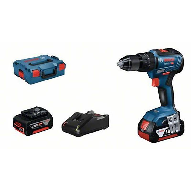 Bosch Perceuse-visseuse à percussion GSB 18V-55 + chargeur rapide + 2 batteries 4Ah + L-Boxx