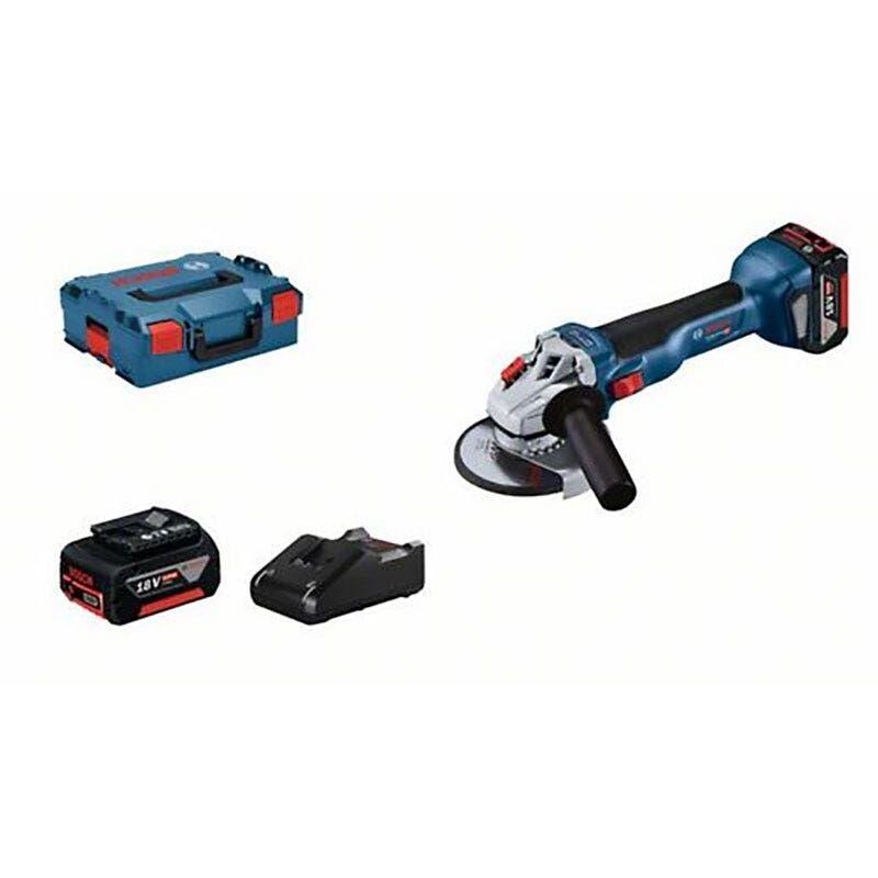 Bosch Meuleuse angulaire sans fil GWS 18V-10 + 2 batteries 4Ah + chargeur GAL 18V-40 + coffret L-Boxx