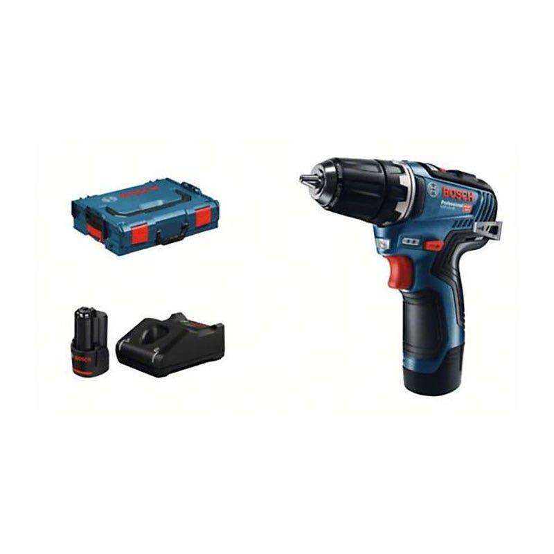 Bosch Perçeuse-visseuse sans fil GSR 12V-35 Brushless + 2 batteries Li-Ion 12V 3Ah + chargeur GAL 12V-40 + coffret L-Boxx