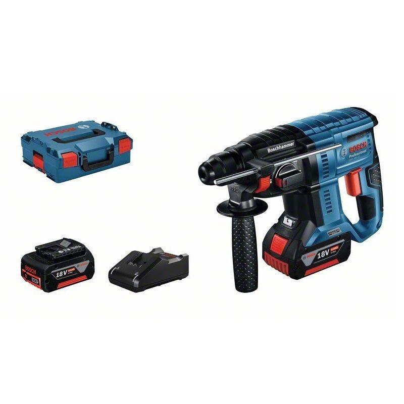 Bosch Perforateur SDS-plus sans-fil GBH 18V-21 + chargeur rapide + 2 batteries 4Ah + L-Boxx