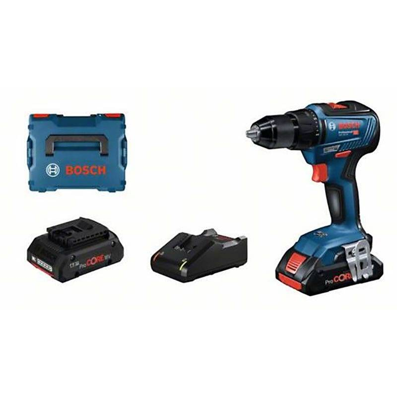 Bosch Perceuse à percussion sans fil GSB 18V-55 Brushless + 2 batteries ProCore 18V 4Ah + chargeur GAL 18V-40 + coffret L-Boxx