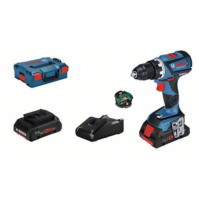 Bosch Perçeuse-visseuse sans fil GSR 18V-60 C Connectée Brushless + chargeur rapide + 2 batteries ProCore 18V 4Ah + L-Boxx