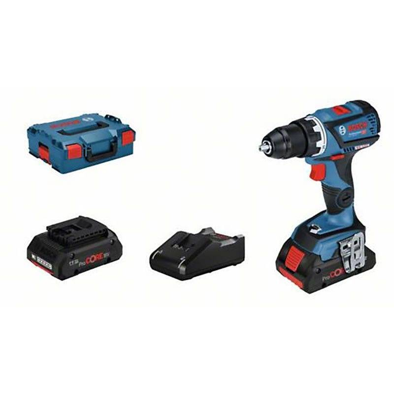 Bosch Perceuse à percussion sans fil GSB 18V-60C connectable Brushless + chargeur rapide + 2 batteries ProCore 4Ah + L-Boxx