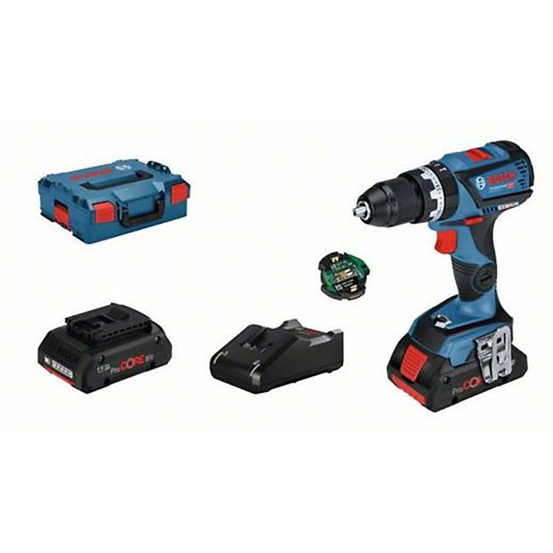 Bosch Perceuse à percussion sans fil GSB 18V-60 C Connectée Brushless + 2 batteries ProCore 18V 4Ah + chargeur GAL 18V-40 + coffret L-Boxx
