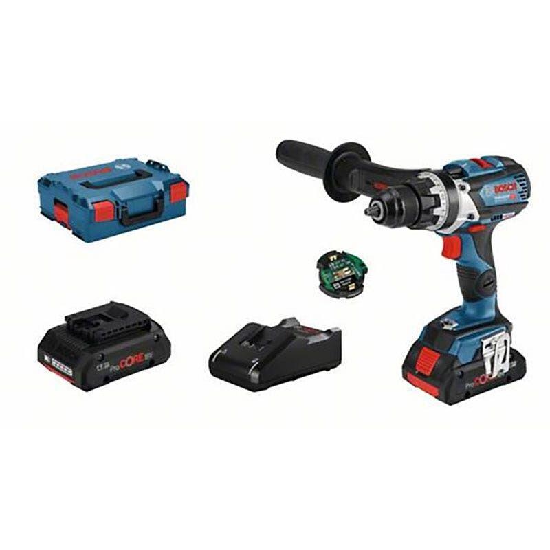 Bosch Perçeuse-visseuse sans fil GSR 18V-110 C Connectée Brushless + chargeur rapide + 2 batteries ProCore 18V 4Ah + L-Boxx