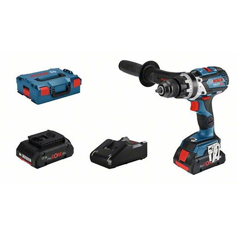 Bosch Perceuse à percussion sans fil GSB 18V-110C connectable Brushless + 2 batteries ProCore 18V 4Ah + chargeur GAL 18V-40 + coffret L-Boxx