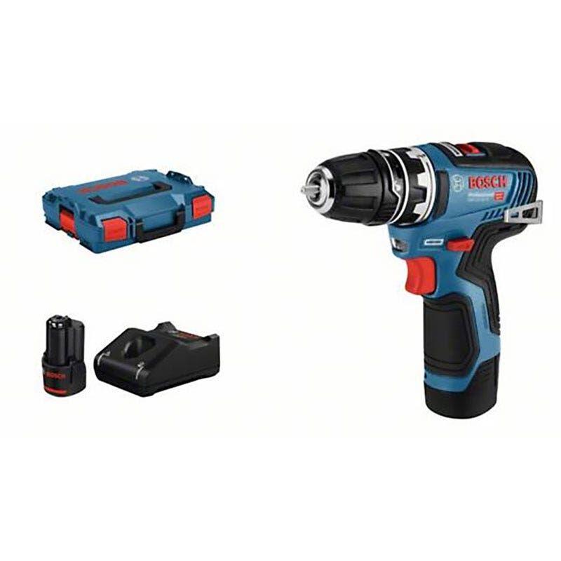 Bosch Perçeuse-visseuse sans fil GSR 12V-35 FC Brushless + 1 mandrin 10mm + 2 batteries LI-Ion 12V 3Ah + chargeur GAL 12V-40 + coffret L-Boxx