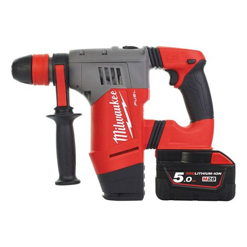 Milwaukee Perforateur-burineur SDS-Plus M28 Chpx-502C - 1 mandrin métal 13mm + 2 batteries 28V 5.0Ah + chargeur + coffret -