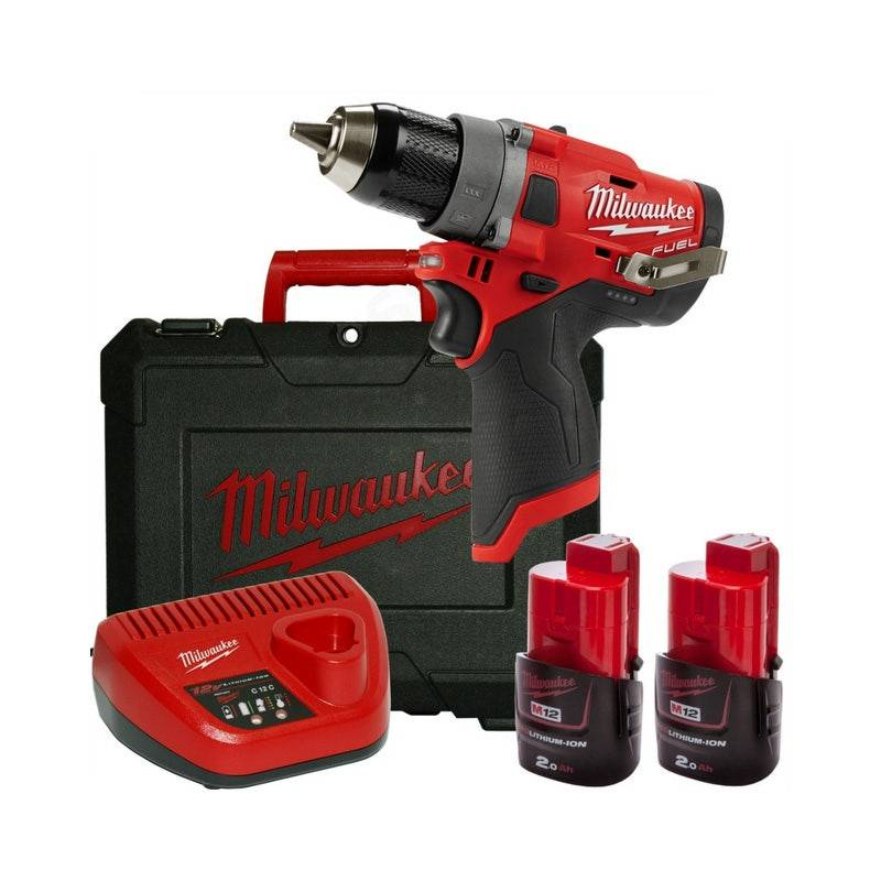 Milwaukee Perceuse-visseuse Fuel 13mm M12 Fdd-202X - 2 Batteries + Chargeur + Coffret