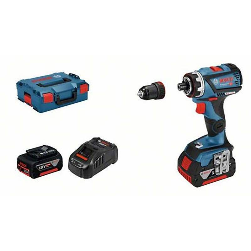 Bosch Perceuse-visseuse sans-fil GSR 18V-60 FC Connectable Brushless + 2 batteries 5Ah + chargeur Gfa18M + coffret L-Boxx