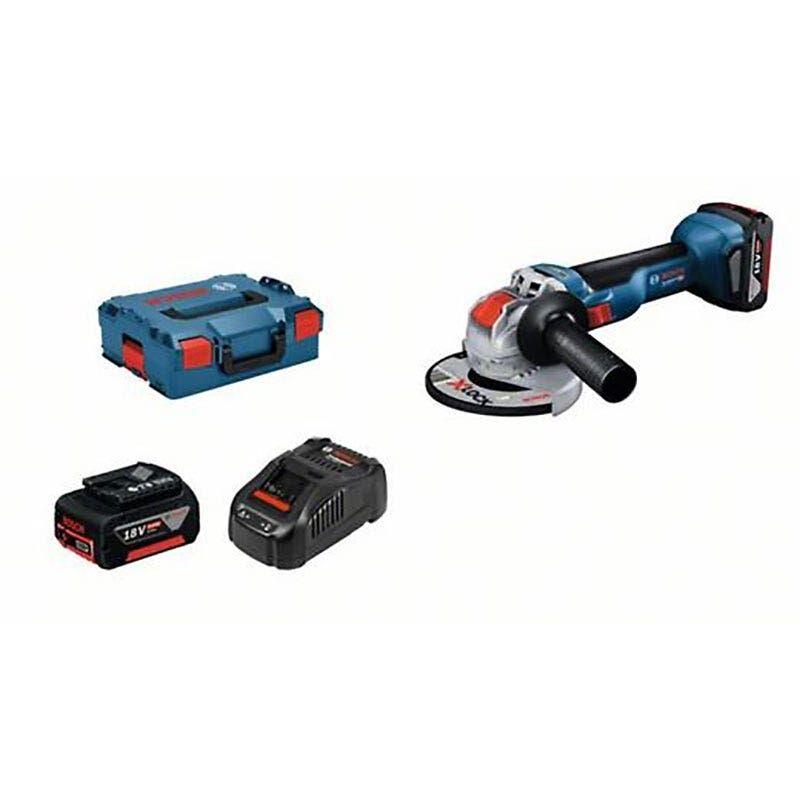 Bosch Meuleuse angulaire sans fil GWX 18V-10 + 2 batteries 5Ah GAL 1880 + chargeur rapide + 1 poignée supplémentaire + 1 calage L-Boxx pour outil et chargeur + 1 capot de protection + coffret L-Boxx