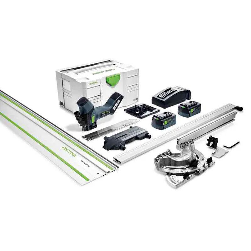 Festool Scie sans fil pour matériaux isolants ISC 240 EBI-Set-FS + 2 batteries 5.2Ah + chargeur rapide + butée angulaire + rail de guidage + systainer