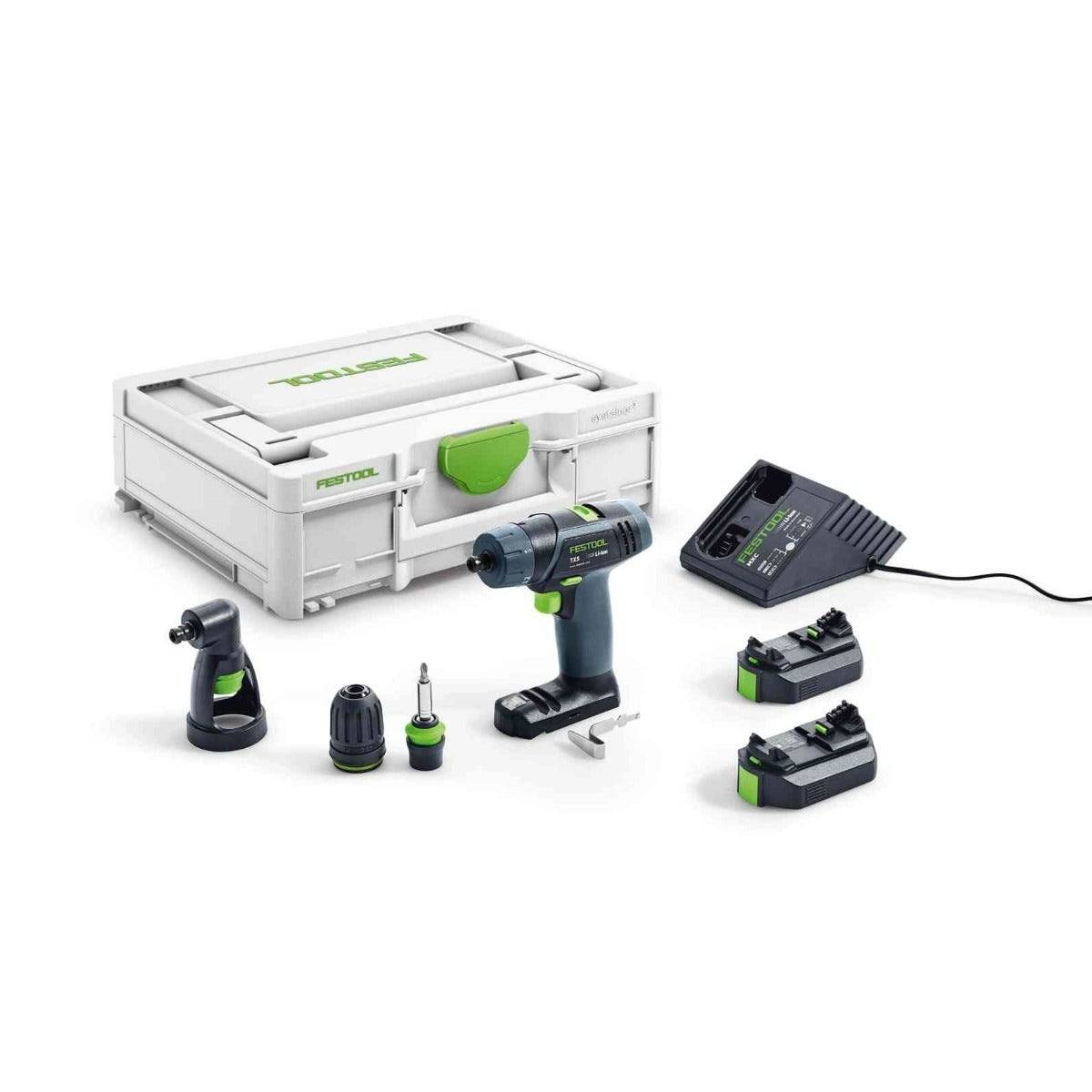 Festool Perceuse-visseuse sans fil TXS Set + 2 batteries 2.6Ah + chargeur + renvoi d'angle + systainer
