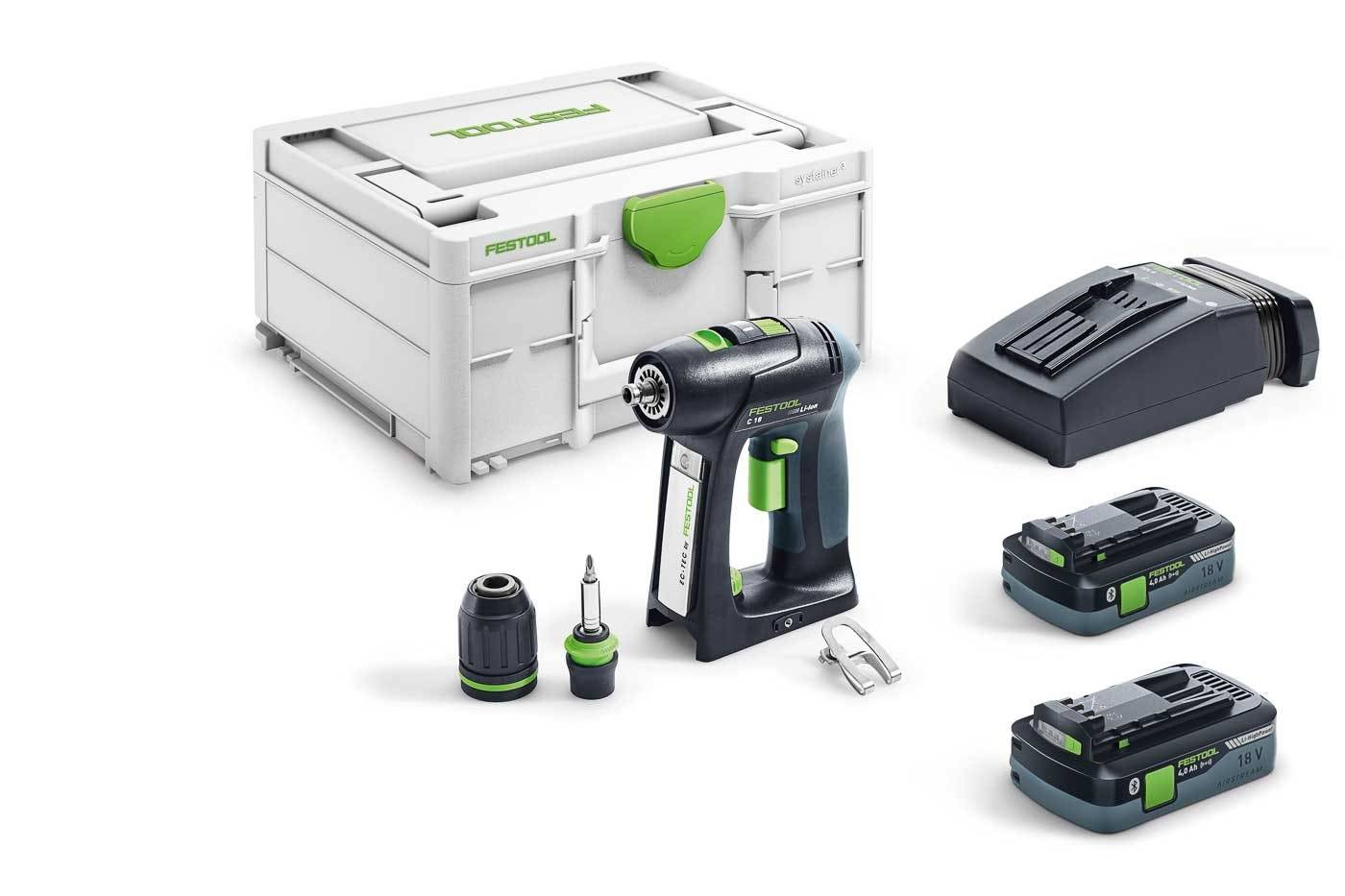 Festool Perceuse-visseuse sans fil C 18 HPC-Plus + 2 batteries 4Ah + chargeur rapide + systainer