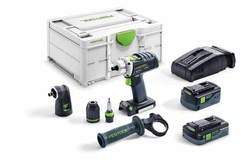 Festool Perceuse-visseuse sans fil Quadrive DRC 18/4 I-Set-SCA + 2 batteries 4Ah 5.2Ah + chargeur rapide AS + renvoi d'angle + systainer