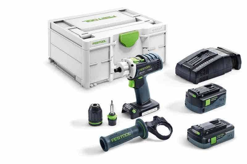 Festool Perceuse-visseuse sans fil Quadrive DRC 18/4 I-Plus-SCA + 2 batteries 4Ah 5.2Ah + chargeur rapide AS + systainer