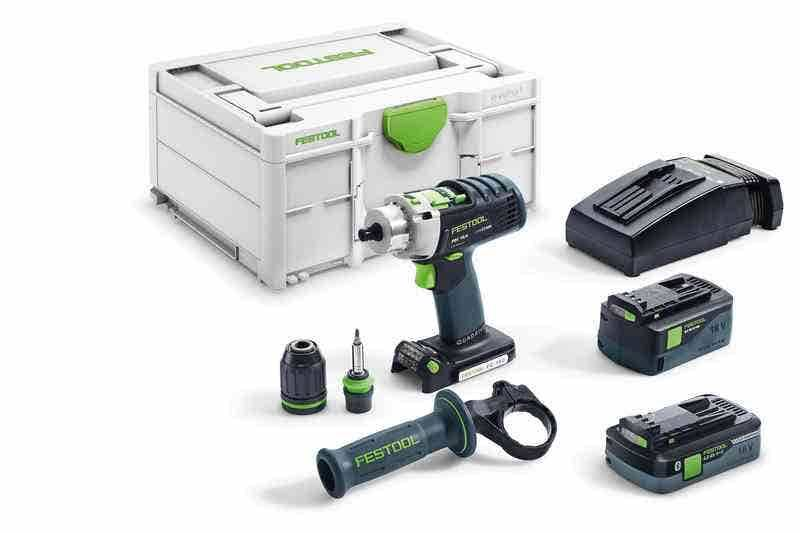 Festool Perceuse-visseuse à percussion sans fil Quadrive PDC 18/4 I-Plus + 2 batteries 4Ah 5.2Ah + chargeur rapide + systainer