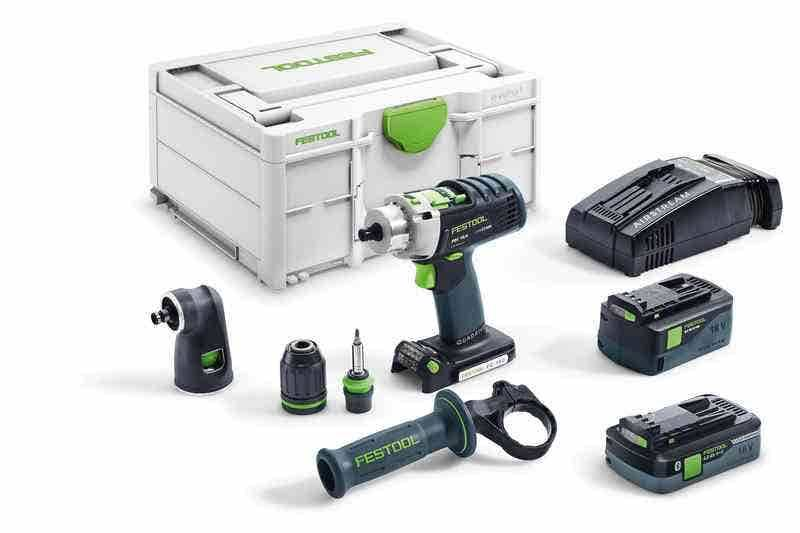 Festool Perceuse-visseuse à percussion sans fil Quadrive PDC 18/4 I-Set-SCA + 2 batteries 4Ah 5.2Ah + chargeur rapide AS + renvoi d'angle + systainer