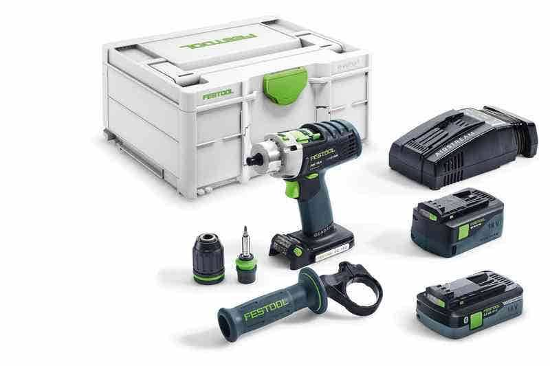 Festool Perceuse-visseuse à percussion sans fil Quadrive PDC 18/4 I-Plus-SCA + 2 batteries 4Ah 5.2Ah + chargeur rapide AS + systainer