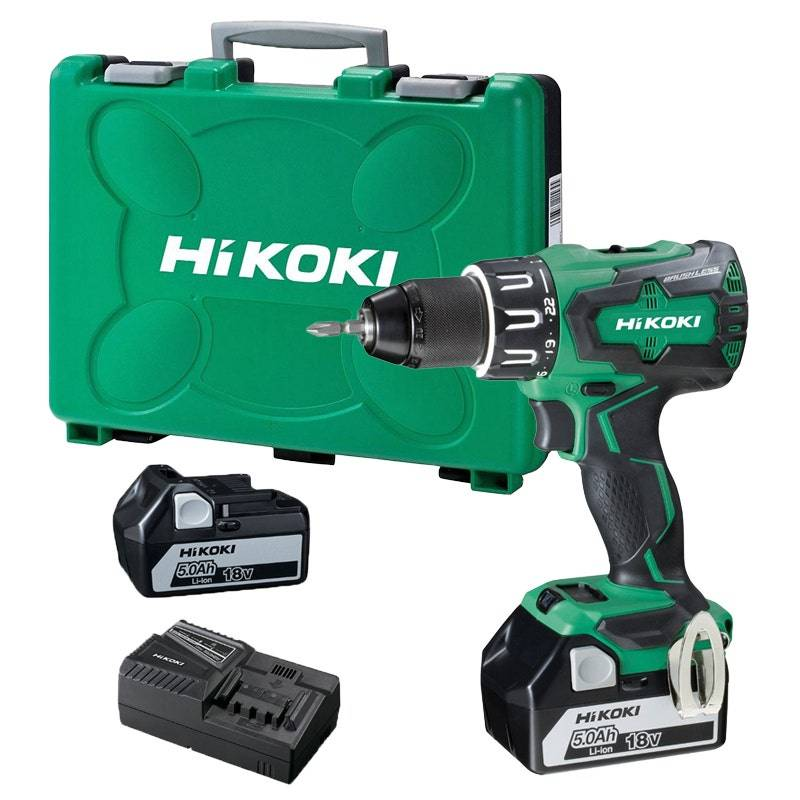 Hikoki Perceuse-visseuse à percussion 18V + 2 batteries 5Ah Li-ion + chargeur + 1 embout de vissage + coffret